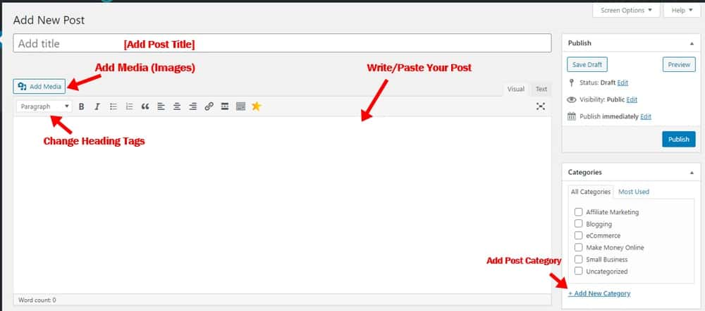 WordPress post editor